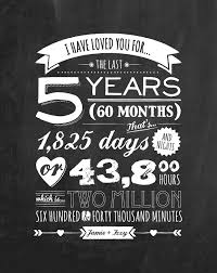 five year wedding anniversary gift personalised anniversary blackboard print