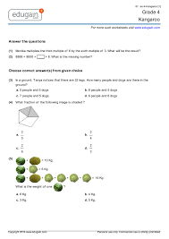 printable worksheets in math for grade 4 grade 4 kangaroo printable worksheets online practice online