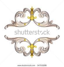 3d illustration golden corner ornaments on stock illustration