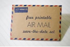 free printable air mail envelope and save the date card