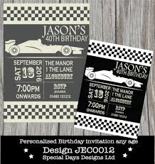 personalised birthday party invitations formula one racing cars