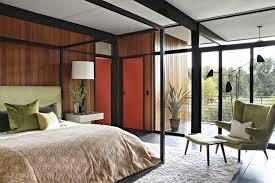 mid century modern bedroom furniture brown white varnished wooden