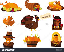 thanksgiving vector art thanksgiving elements turkey corn pie native stock vector