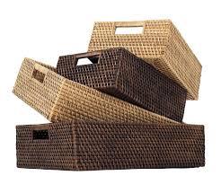 Rattan Baskets by Furniture Dazzling Rectangle Rattan Storage Baskets For Shelves