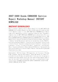 2007 2009 honda cbr600 rr service repair workshop manual instant down u2026