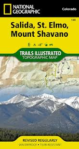 Colorado 14er Map by Salida St Elmo Mount Shavano National Geographic Trails