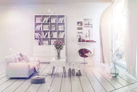 Decor And Floor Bright Airy White Living Room Interior With Simple Decor Of A