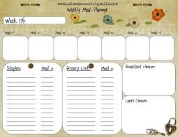 template meal planner template