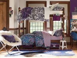 Bedroom Designs For Teenagers With 3 Beds Bedroom Bedding And Bunk Bed With Window Treatments Also Furry