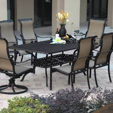 cool pc outdoor cast aluminum patio dining set with mesh chairs
