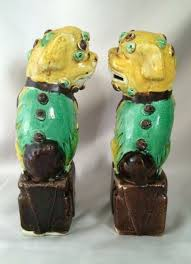 green foo dogs vintage polychrome foo dogs saffron yellow green and