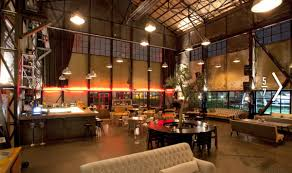 spacious rustic warehouse industrial cafe interior concept ideas