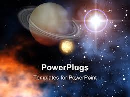 powerpoint template ringed planet saturn with moon stars and sun