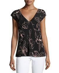 diane von furstenberg short sleeve v neck silk blouse