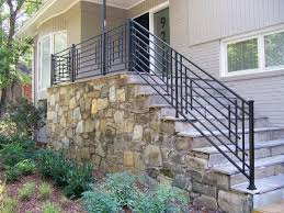 outdoor staircase with metal handrails wearefound home design