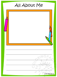 memory book all about me coloring page