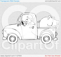 cartoon of an outlined farmer driving a truck with pig in the bed