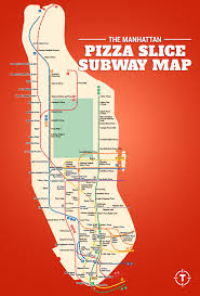 New York City Zip Codes Map by The Manhattan Pizza Slice Subway Map Thrillist