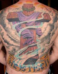 nice wooden cross tattoo idea for men back golfian com