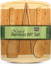 amazon com natural bamboo gift set with 3 piece wooden utensils amazon com natural bamboo gift set with 3 piece wooden utensils and a 14 5