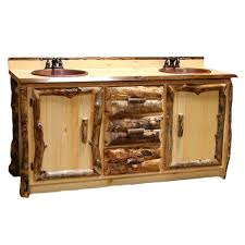 Aspen Bathroom Furniture Aspen Log Furniture Aspen Vanity With Copper Sinks And