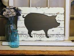 Kitchen Wall Art Decor by Rustic Farmhouse Pig Wall Hanging Handcrafted Wood Pig Kitchen