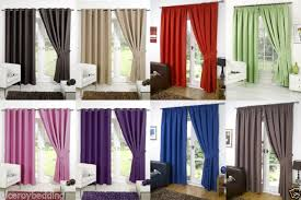 Silver Black Curtains Thermal Ring Top Eyelet Blackout Pair Curtains Ready Made Fully