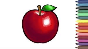 apple coloring page red apple coloring page for kids youtube