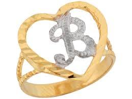 two tone gold 1 51cm fancy script letter b beautiful heart initial