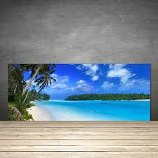 kitchen splashback 125x50 tempered glass beach palms south sea