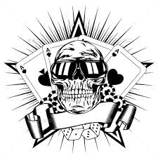 skull in sunglasses with cards and dice by ss1001