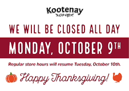 store closed for thanksgiving kootenay co op