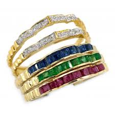 ruby emerald rings images 18k yellow gold diamond and ruby emerald sapphire stacking ring jpg