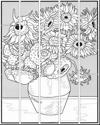van gogh sunflowers coloring page funycoloring