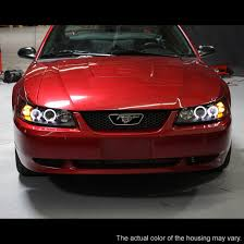 mustang projector headlights 99 04 ford mustang smoke ccfl halo projector headlights