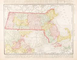 antique vintage color map of massachusetts united states stock