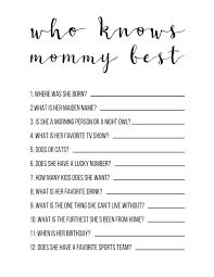 Baby Shower Halloween Games Baby Shower Games Free Printable Who Knows Mommy Best Paper