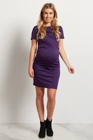 Fitted Maternity Dresses Purple Short Sleeve Fitted Maternity Dress