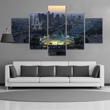 hd print baseball los angeles dodgers fans painting on canvas wall