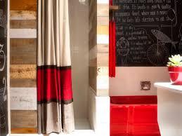 bathroom curtain ideas the key for refreshing interesting fabric bathroom curtain plus red bathtub also blackboard