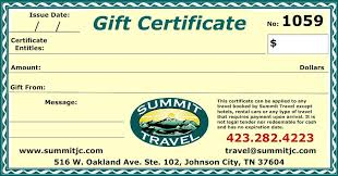 travel gift certificates summit travel s gift certificate johnson city travel agency