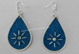 jute earrings handmade jewellery tutorial blue dangle jute earrings