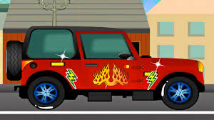 jeep cartoon offroad jeep car repair service station mechanic car garage spa
