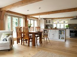 border oak open plan kitchen dining living room in a new build