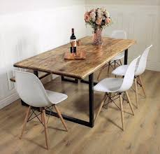 industrial dining table rustic solid kitchen farmhouse steel