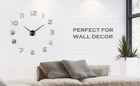 yesurprise 3d frameless wall clock modern mute large