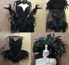 Witch Crow Feathers Overbust Corset Gothic Hip Fins Haute Goth