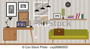 home interior vector home interior work space table and sofa in vector vector