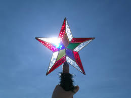 multi color tree topper star stained glass rustic looking