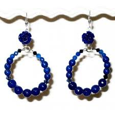 hoop beaded earrings blue flower hoop beaded earrings